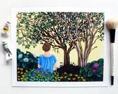 Garden Art, Garden Meditation, Gouache, Peaceful Illustration, Garden Illustration, Girl in Landscape, In the Garden, Morning Garden