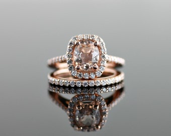 Rose Gold Engagement Ring with Cushion Diamond Halo and Morganite Center Stone Set