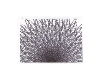 Original ACEO Artist Trading Card Black White Mini Original Art Collectible Card Abstract Dark Star Spiral Line Drawing #33 3.5 x 2.5