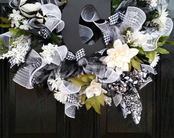 Large Elegant Year Round Spring Summer Mothers Day Wedding Mesh Wreath Personalized Initial Monogram Black White Cream Ribbon