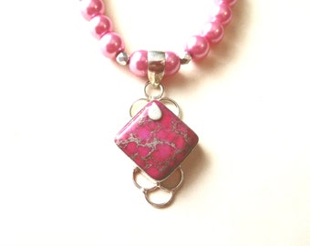 Sea Sediment Jasper Necklace, Pink Jasper Pendant & Pink Glass Bead Necklace