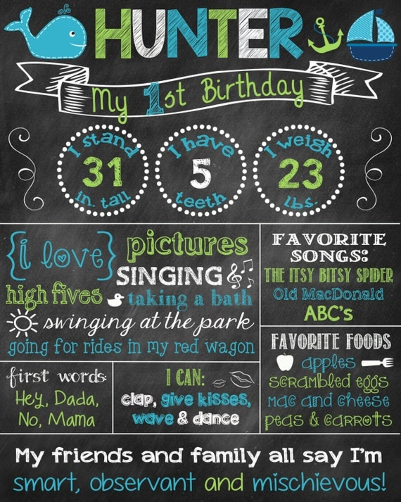 Whale birthday chalkboard poster chalkboard poster 1st for First birthday board template