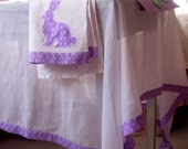 Cottage decor Rectangle tablecloth White Purple polka dot Tablecloth, Spring wedding Sheer tablecloth, Rabbit Tea towels, Kitchen towels
