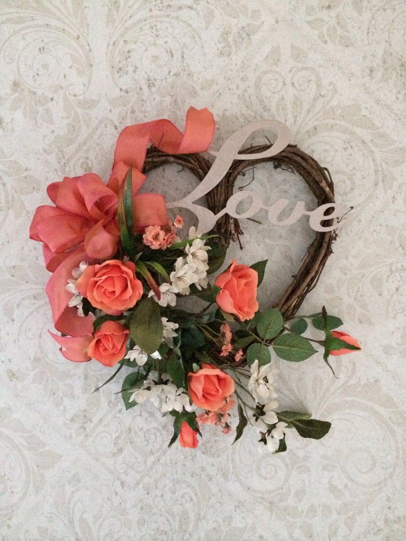 Heart Wreath Silk Floral Wreath Wedding Wreath Roses Love