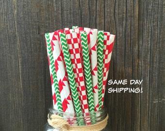 Paper Straws, 100 Straws, Pizza Birthday Straws, Red Straw, Banner Straws, Green Chevron Straws, Free Shipping
