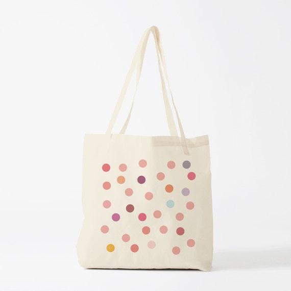 Pink Polka Dots Tote bag, cotton bag, groceries bag, novelty gift, gift for coworker, school bag, laptop bag, gift for women.