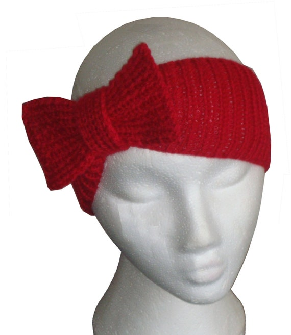 Knitted Headband With Bow Pattern : Items similar to Bow Headband. PDF Knitting Pattern on Etsy