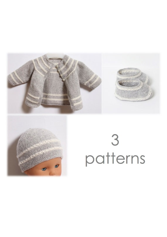 Baby Knitting Patterns With Instructions : Baby Set / 3 Patterns / Knitting Pattern Instructions in