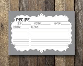 Printable Recipe Cards - 4x6 Recipe Cards - Gray Recipe Card - Bridal Shower Printables - Instant Download Recipe Card - Gray Bridal Shower