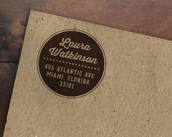 Round Personalized Address Stamp • Circle Rubber Stamp • Custom Return Address • Modern Stamp • Wedding Address Label • Wedding Invitation