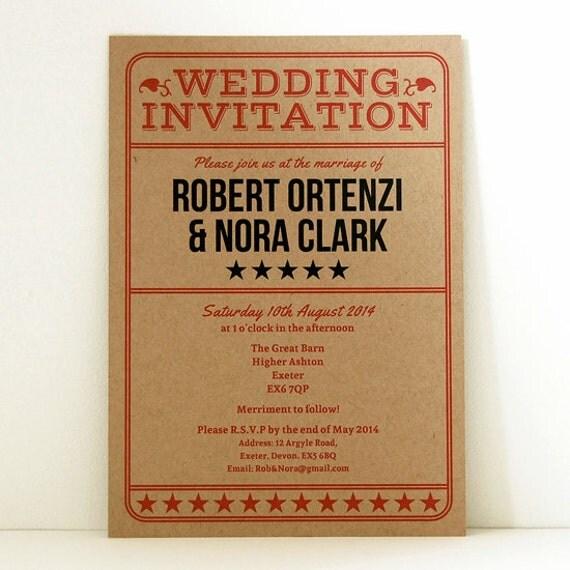 SAMPLE Old Ticket Vintage Retro Style Wedding Invitation