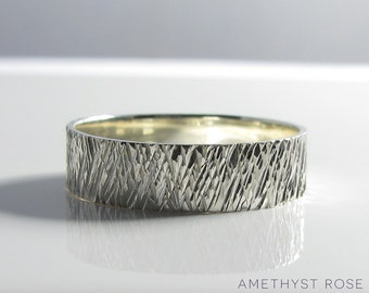 Sterling Silver Hammered Ring ~ Handmade Textured Ring Band ~ Contemporary Jewellery