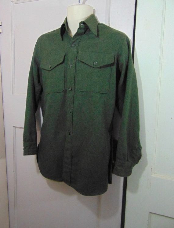 Dark Green Wool Button Down Shirt Men 39 S By Retrorebeltrading