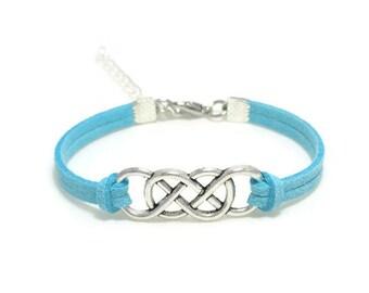 Suede Double Infinity Bracelet, Infinity Jewelry, Bohemian Bracelet, Faux Suede Bracelet, Gift for Her, Charm Bracelet, Gift Idea