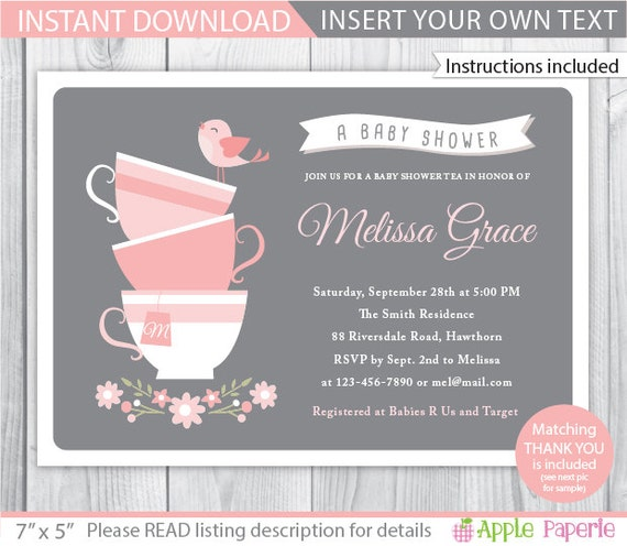 baby shower tea party invitation tea baby shower invitation baby shower tea invitation