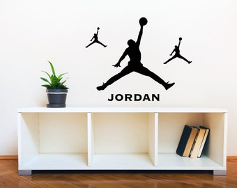Michael Jordan Jump Man Silhouette 3 Pieces With Custom Name Wall Decal  Basketball Wall Art Decals
