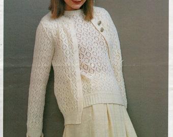 WOMENS KNITTING PATTERN pdf Lacy Cardigan Sweater Womens Twin Set 34-42inch dk Ladies Knitting Pattern pdf instant download