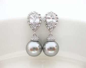Light Grey Pearl Earrings Bridal Pearl Earrings Wedding Jewelry Swarovski 10mm Round Pearl Cubic Zirconia Earrings Bridesmaid Gift (E014)