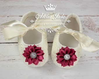Ivory Baby Shoes, Crib Shoes, Baby Girl Shoes, Soft Sole Baby Shoes, Lace Baby Shoes with Burgundy Flower, Infant Shoes, Newborn Girl Shoes