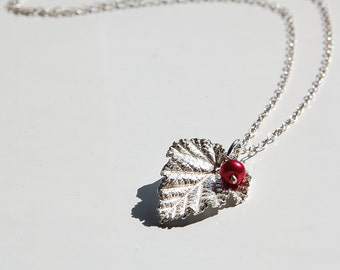 Silver leaf pendant leaf necklace - Wild raspberry bramble nature jewellery