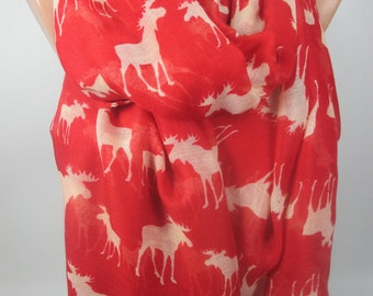 Nordic Scarf Red Scarf Deer Scarf Fashion Accessories Holiday Fashion Winter Scarf Christmas Gift Ideas For Her MELSCARF