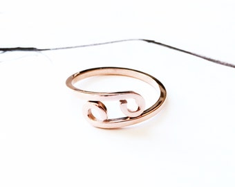 Horoscope Cancer Ring Band 18K Rose Gold Horoscope Ring Adjustable Ring Stack Ring Multifinger Thumb Ring Simple Creative Birthday Ring Gift