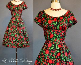 Red Roses ~ Vintage 1960s Silk Floral Cocktail Party Dress S ~ I MAGNIN