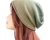 Cotton beanie, women's hat, summer beanie, spring beanie, fall hat, women's beanie hat, slouchy cotton hat, slouchy beanie, green ombre hat