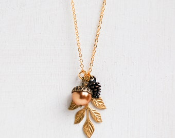 Pine Cone Necklace Acorn  Leaf Forest Woodland Rustic Wedding