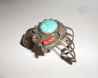 Godber/Dry Creek Turquoise & Branch Coral Cuff UNUSUAL Sterling Squash Blossom Bracelet Navajo Antique Hand Crafted Vintage Beauty