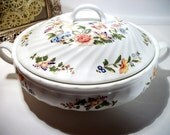 AYNSLEY Cottage Garden Fine English Bone China Casserole Round Covered Server Tureen Dish Bowl Vintage Collectible