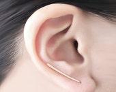 14 Karat Gold Filled Earring Pin Ear Climber Line Minimalist Ear Wrap Long Bar Earring Pierced Dainty 14 K (Pair)