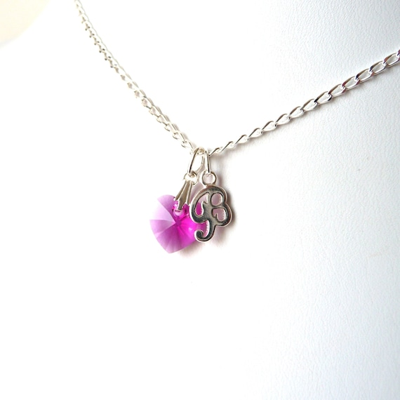 Initial Necklace for Kids, Crystal Heart Necklace, Fuchsia Pink Necklace, Sterling Silver, Personalized Gift for Her, Gift for Teen Girl