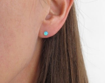 brilliant blue opal stud earrings, opal post earrings, blue opal earrings in 14k yellow gold fill or silver setting