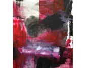 Large abstract expressionist painting oil on paper, red, black