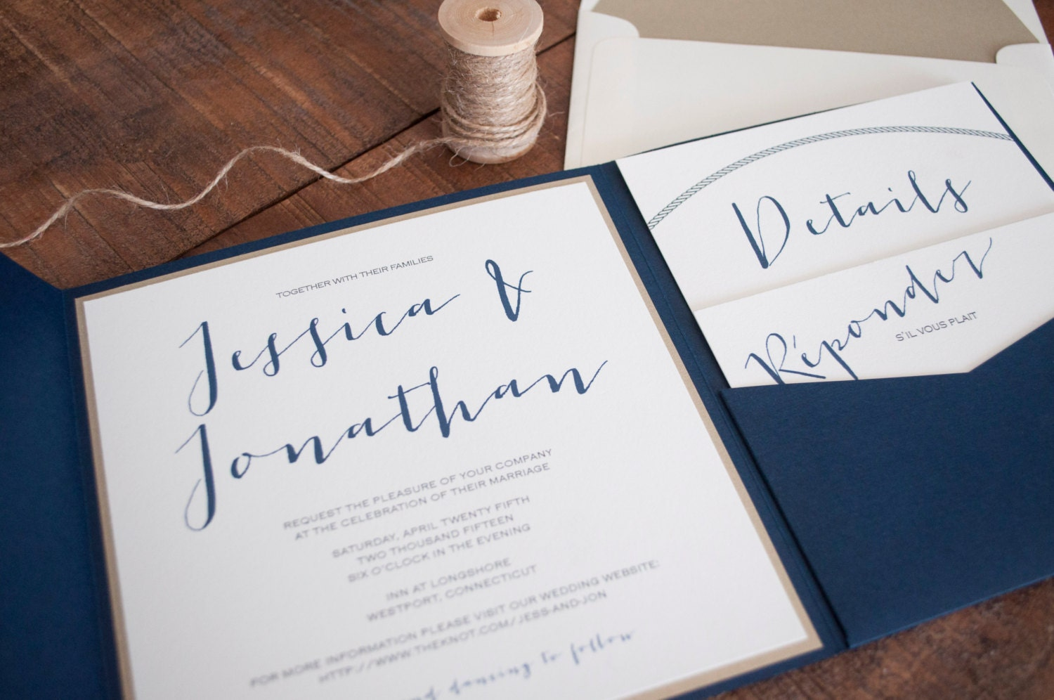 Navy Blue And Gold Wedding Invitations: Modern Nautical Navy Blue Gold And Ivory Pocketfold