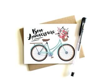 Bon Anniversaire Card - Greeting Card, Happy Birthday Card, Birthday Card, Bon Anniversaire, French, Happy Birthday, Bicycle