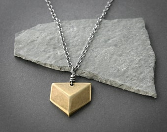 Geometric Necklace Brass and Sterling Simple Pendant