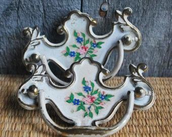 pair of vintage decorative drawer pulls - painted brass - floral design - set of 2