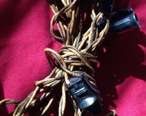 Vintage 1930's C7 Reliance Coated Cloth 10 Socket Outdoor Christmas Lights Cord *Working*