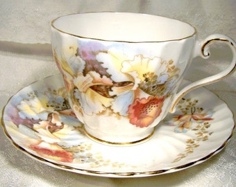 Aynsley 2231 Orchids Floral Tea Cup and Saucer 1950s Fluted Teacup