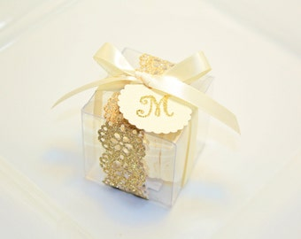 Gold Wedding Favors, Macaron Box - Set of 30 Glitter Gold Favor Boxes