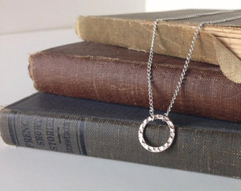 Silver Infinity Circle Necklace / Emma Necklace / Love has no end, Circle of Life, Infinite Love - Bridal Bride Friendship Jewelry Girl Gift