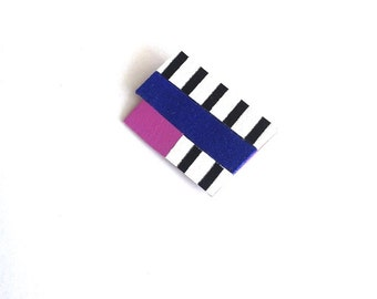 Leather Brooch - Pin - Artistic - Geometric Brooch - Statement Brooch - Black & White Striped Brooch - Rectangle Brooch - Royal Blue