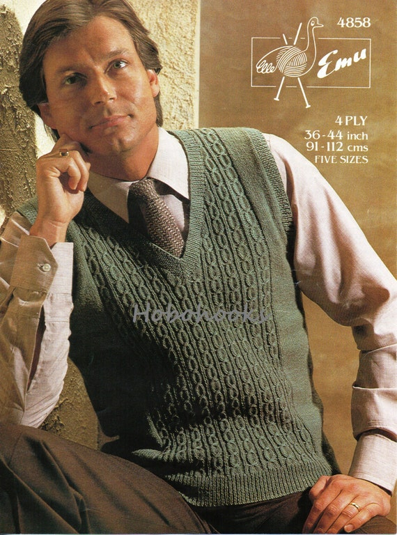 Knitting Pattern Mens Sleeveless Vest : Mens Knitting Pattern Mens Slipover Mens Pullover Pattern