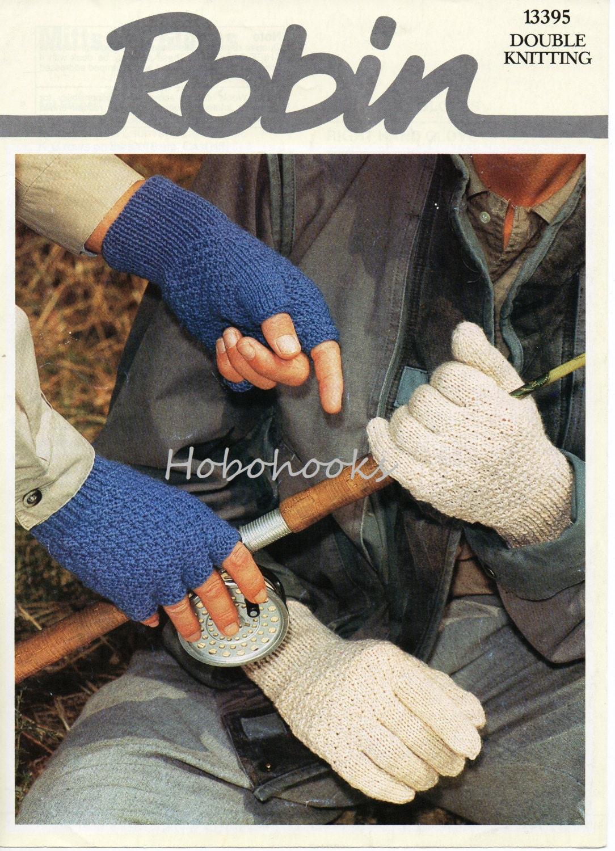 Mens Fingerless Gloves Knit Pattern : mens gloves knitting pattern fingerless gloves DK 8 inch hand