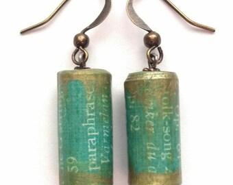 Paper Bead Earrings - OOAK Earrings - Barrel Bead Earrings - Stocking Stuffer