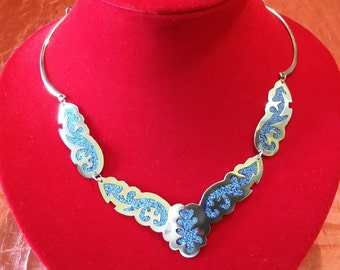 Mexican Alpaca choker with blue-blue enamelled decorations