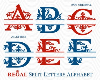 A to Z Regal Split Monogram Alphabet, Ready to Cut (SVG DXF EPS Studio3) Royal File for Silhouette Studio, Cricut and other Cutting Machines