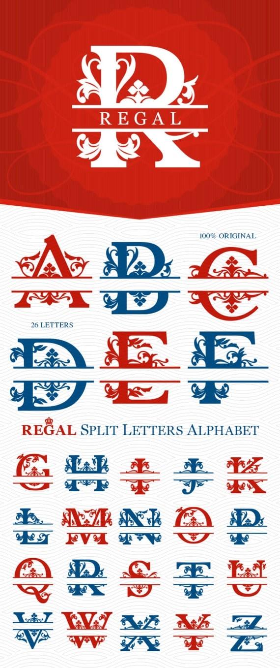 A To Z Regal Split Monogram Alphabet Ready To Cut Svg By
